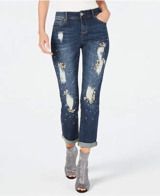 d9a9a8c880339 INC International Concepts I.n.c. Crystal-Embellished Distressed Boyfriend  Jeans