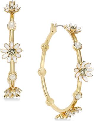 Kate Spade Gold-Tone Crystal & Imitation Pearl Flower Hoop Earrings