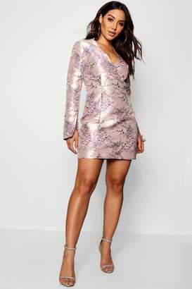boohoo Layla Jacquard Button Detail Blazer Dress