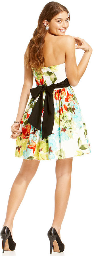 Ruby Rox Juniors Dress, Strapless Floral-Print A-Line