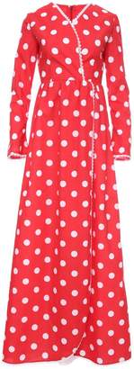 Monroe Zalinah White Long Polka Dot Dress in Red
