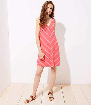 LOFT Striped Double V Sleeveless Swing Dress