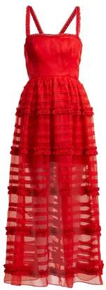 Emilio De La Morena Jade Silk And Lace Gown - Womens - Red