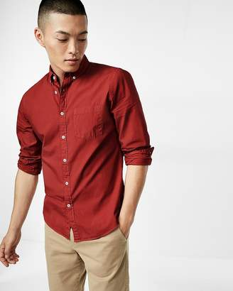 Express Slim Garment Dyed Button Collar Long Sleeve Cotton Shirt