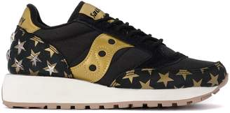 Saucony Jazz Black And Gold Fabric And Leather Sneaker With Stars