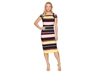 ECI Cold Shoulder Stripe Crepe Scuba Dress Women's Dress