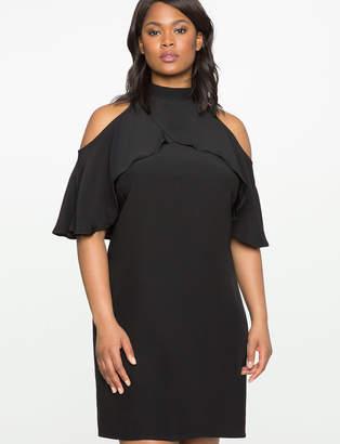 ELOQUII Cold Shoulder Mock Neck Dress