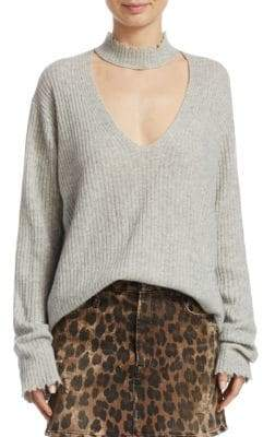 R 13 Choker V-Neck Sweater