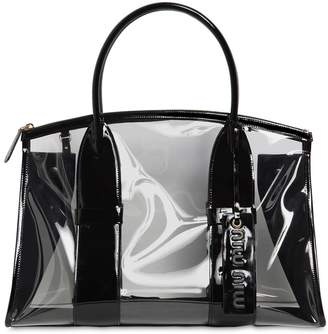 Miu Miu Patent Leather & Plexi Tote Bag