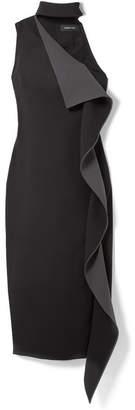 Cushnie et Ochs Elettra Ruffled Two-tone Crepe Midi Dress - Black