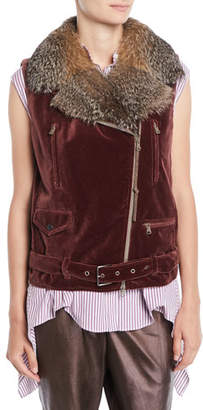 Brunello Cucinelli Velvet Moto Vest w/ Fox Fur Collar