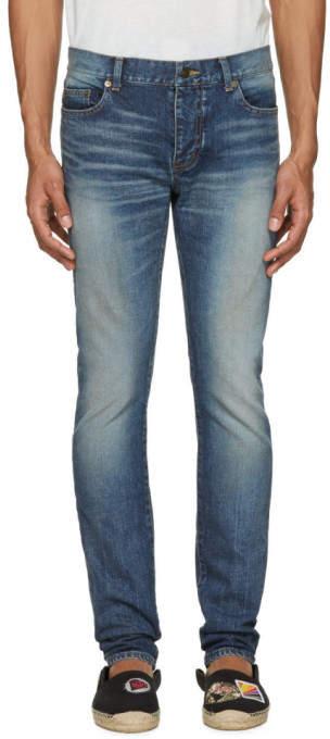 Saint Laurent Blue Low Waisted Skinny Jeans