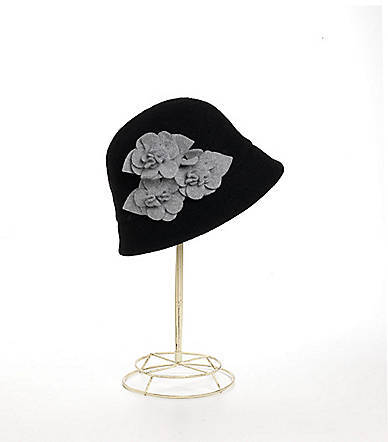 Badgley Mischka Wool-Blend Flower-Accented Hat