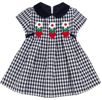 Florence Eiseman Twill Check Hearts & Flowers Dress, Size 3-24 Months