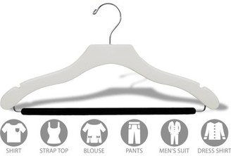 Wavy White Wood Suit Hanger w/ Velvet Non-Slip Bar, Box of 25 Space Saving 17 Inch Flat Wooden Hangers w/ Chrome Swivel Hook & Notches for Shirt Dress or Pants by International Hanger