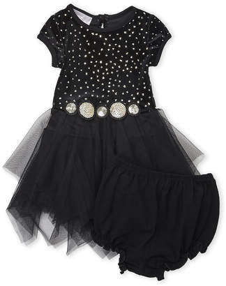 Pippa & Julie (Infant Girls) Two-Piece Velvet Top Tulle Dress & Bloomers Set