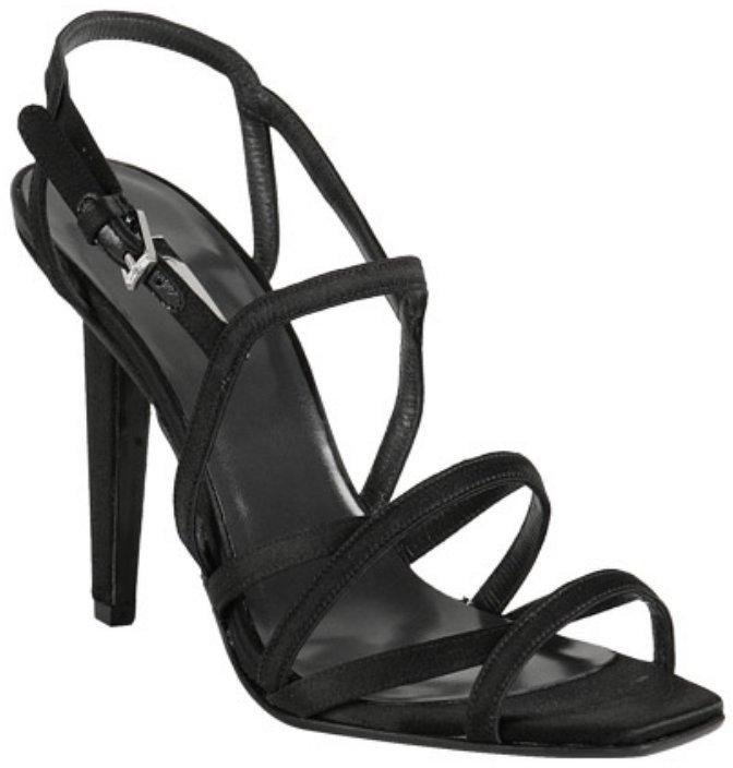 Calvin Klein Collection black satin 'Nadia' strappy sandals
