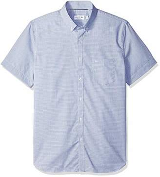 Lacoste Men's Short Sleeve REG FIT Mini Gingham POPLIN Button Down
