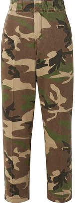 R 13 Camouflage-print Cotton-twill Wide-leg Pants - Army green