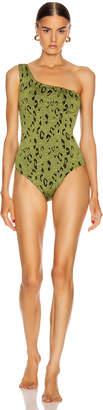 Hunza G Nancy Swimsuit in Metallic Moss Leopard   FWRD