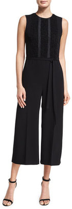 RED Valentino Sleeveless Cropped Wide-Leg Jumpsuit, Nero $895 thestylecure.com