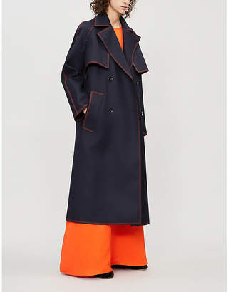 Jil Sander Guitar contrast-stitched wool-twill trench coat
