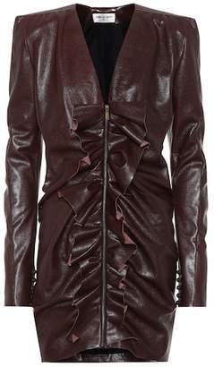 Saint Laurent Ruffled leather minidress