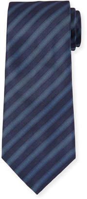 Giorgio Armani Men's Striped Woven Jacquard Tie, Blue