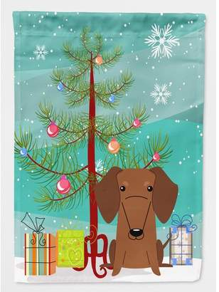Caroline's Treasures Merry Christmas Tree Dachshund 2-Sided Garden Flag