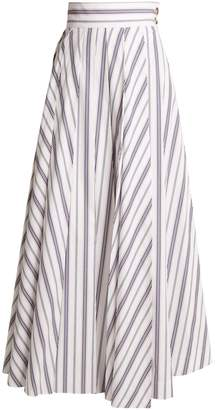 Awake Striped cotton maxi skirt