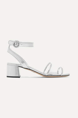 Prada Metallic Leather And Pvc Sandals - Silver