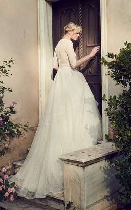 Costarellos Bridal Embroidered Tulle V-Neck Gown