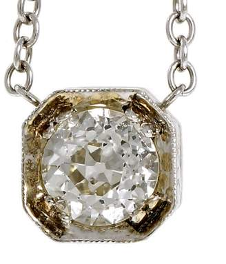 Art Deco 18K White Gold with 1.00ct Old European Cut Diamond Pendant Necklace