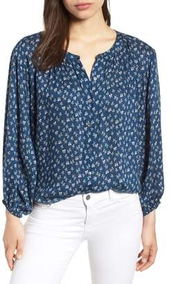 Velvet by Graham & Spencer Printed Gauze Peasant Blouse