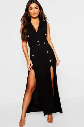 boohoo Belted Maxi Split Blazer Dress