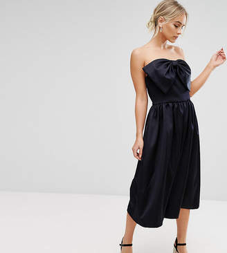 Asos Premium Jumpsuit In Bonded Satin With Bow Detail