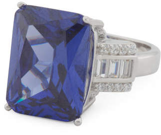 Sterling Silver Tanzanite And Cz Statement Ring