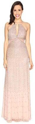 Adrianna Papell Strappy Halter Fully Beaded Gown with Side Mesh Cut Outs and CF Keyhole Women's Dress