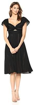 BCBGMAXAZRIA Azria Women's Embroidered Fit Flare Midi Dress