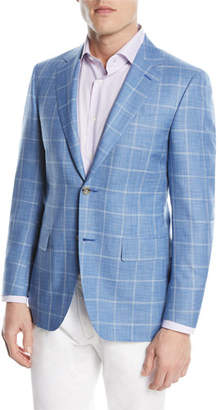 Canali Wool/Silk Windowpane Two-Button Sport Coat