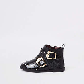 River Island Mini girls black stud buckle ankle boots
