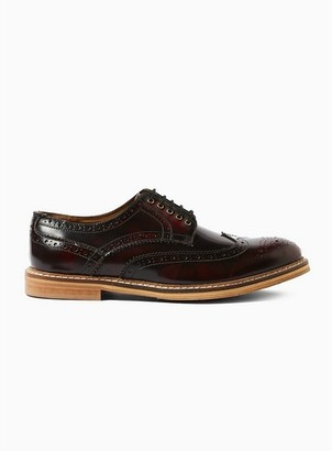 Topman Mens Red Burgundy Leather 'Luna' Brogues