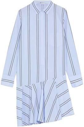 Brunello Cucinelli Asymmetric Sequin-Embellished Cotton-Poplin Mini Dress
