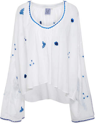 Thierry Colson Selma Embroidered Cotton-Voile Blouse