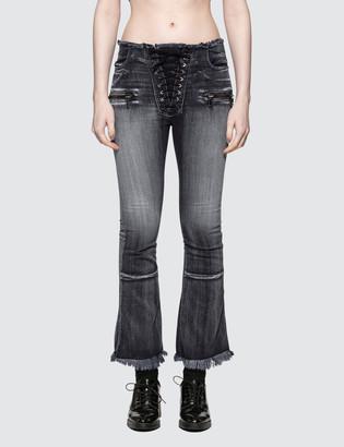 Unravel Project Potassium Flare Crop Lace Up Jean