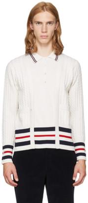 Thom Browne White Cricket Stripe Trompe L'Oeil V-Neck Cardigan Polo $1,890 thestylecure.com