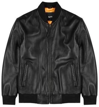 Yoshida Black Leather Bomber Jacket