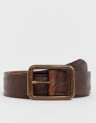 Asos Design DESIGN leather wide belt in distressed vintage brown with burnished buckle