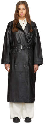 Stand Studio Black Lambskin Eliora Trench Coat