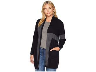 Vince Camuto Specialty Size Plus Size Long Sleeve Two-Pocket Color Block Cable Knit Cardigan